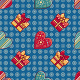 Christmas background. Hearts and gift box. Seamless pattern. Colorful vector. Image. Ornamental holiday texture Stock Photography