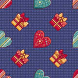 Christmas background. Hearts and gift box. Seamless pattern. Colorful vector. Image. Ornamental holiday texture Royalty Free Stock Image