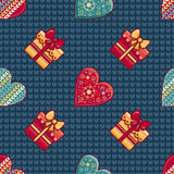 Christmas background. Hearts and gift box. Seamless pattern. Colorful vector. Image. Ornamental holiday texture Stock Image