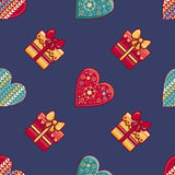 Christmas background. Hearts and gift box. Seamless pattern. Colorful vector. Image. Ornamental holiday texture Stock Photos