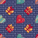 Christmas background. Hearts and gift box. Seamless pattern. Colorful vector. Image. Ornamental holiday texture Royalty Free Stock Photography