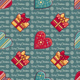 Christmas background. Hearts and gift box. Seamless pattern. Colorful vector. Image. Ornamental holiday texture Royalty Free Stock Images