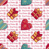 Christmas background. Hearts and gift box. Seamless pattern. Colorful vector. Image. Ornamental holiday texture Stock Images