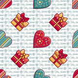 Christmas background. Hearts and gift box. Seamless pattern. Colorful vector. Image. Ornamental holiday texture Royalty Free Stock Photos