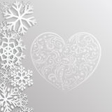 Christmas background with hearts and snowflakes Stock Images