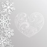 Christmas background with hearts and snowflakes Royalty Free Stock Photo