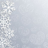 Christmas background with hearts and snowflakes Royalty Free Stock Image