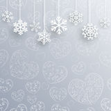 Christmas background with hearts and snowflakes Stock Image