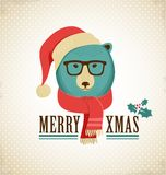 Christmas background with hipster bear Royalty Free Stock Images
