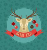 Christmas background with hipster deer and ribbon Royalty Free Stock Photo