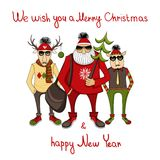 Christmas background  with hipster Santa Royalty Free Stock Photos
