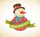 Christmas background with hipster snowman Royalty Free Stock Images