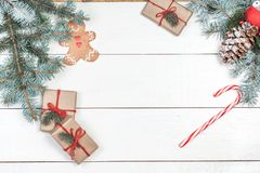 Christmas background with holiday decoration elements, presents. Christmas background with holiday decoration elements Royalty Free Stock Photo