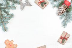 Christmas background with holiday decoration elements, presents Royalty Free Stock Images