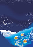 Christmas background for a holiday greeting card. Long winter night with starry sky, vector illustration Stock Photo