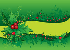 Christmas background with holly Stock Photos