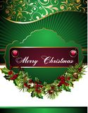 Christmas background  with holly. Pinecone bell bow berry holly  eve card floral Stock Photography