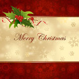 Christmas background with holly . Christmas background with holly berries Stock Photography