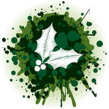 Christmas Background - Holly. Grungy Christmas Holly With Green Splatters royalty free illustration