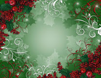 Christmas Background Holly Berries Stock Photo