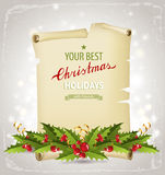Christmas background with holly berry border Stock Images