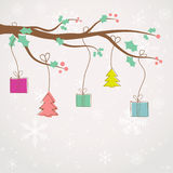 Christmas background with holly berry branch Royalty Free Stock Photo