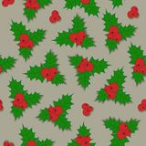 Christmas background holly berry with green leaves   Royalty Free Stock Photography