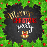Christmas background with  holly berry and handwritten text Royalty Free Stock Image