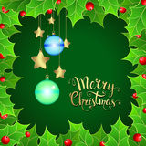 Christmas background with  holly berry and handwritten text. Merry Christmas. Vector illustration for  posters,   greeting cards, print and web projects Royalty Free Stock Images