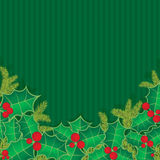 Christmas background with holly berry leaves Royalty Free Stock Photography
