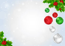 Christmas Background with Holly Berry Stock Photography