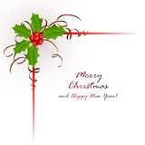Christmas background with holly berry Stock Image