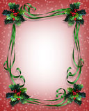 Christmas background Holly Border. Image and Illustration composition for Christmas holiday greeting card background, border, invitation or frame with green Stock Photo