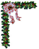 Christmas Background Holly Border. Image and illustration Composition Christmas Corner design with holly and bow  for border or frame with copy space Stock Images