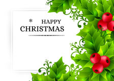 Christmas background with holly leaves decorations Stock Images