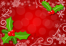 Christmas background with holly Stock Image