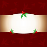 Christmas background with holy. Red Christmas background with holy ornaments Stock Photo