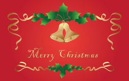 Christmas background. With holy berries and bells Royalty Free Stock Photography