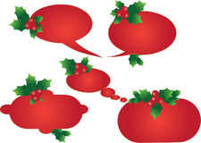 Christmas background. With holy berries and bells Stock Photos
