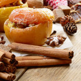 Christmas background of Homemade baked stuffed apples and spices Stock Image