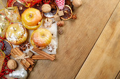 Christmas background of Homemade baked stuffed apples and spices Stock Photos