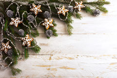 Christmas background with homemade icing gingerbread cookies Stock Photography