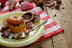 Christmas background of Homemade oven baked stuffed apples Royalty Free Stock Images