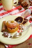 Christmas background of Homemade oven baked stuffed apples Stock Photo