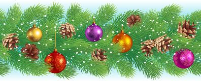 Christmas background. Christmas horizontal seamless background with pine cones and balls Stock Images