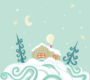 Christmas background with house Stock Image