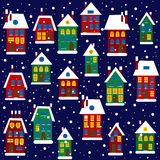 Christmas background with houses. And snowflakes Stock Photography