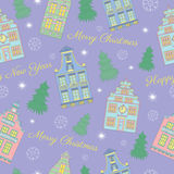Christmas background with houses, text and conifers Royalty Free Stock Photos