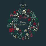 Christmas Background with Icons Royalty Free Stock Images