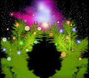 Christmas background with illuminated evergreen needles, christmas comet and stars Royalty Free Stock Photography